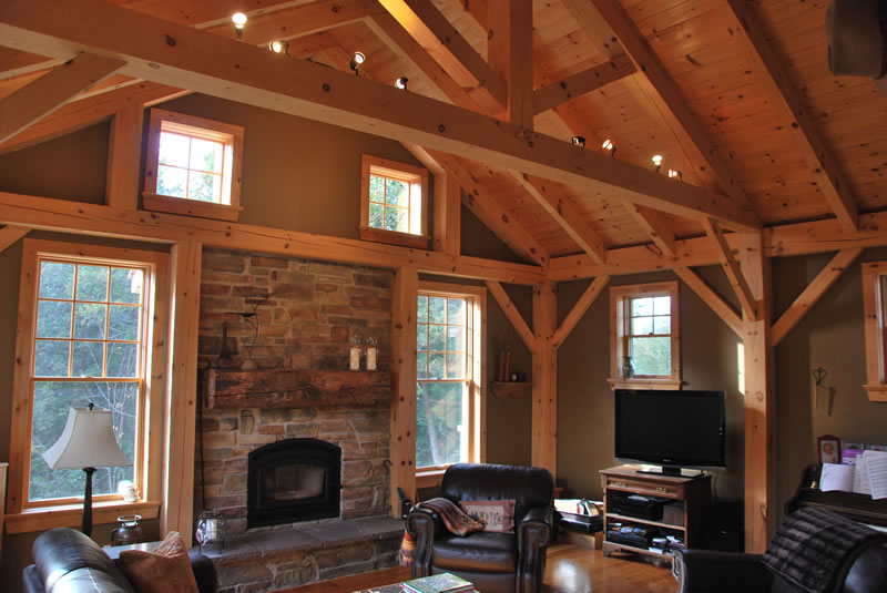 living room, timber frame home, Almonte ON.