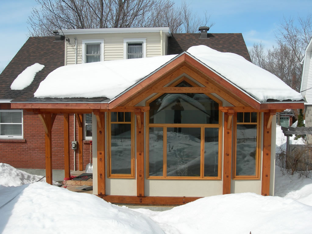 Riversong design renovations timberframe sustainable for Timber frame porch addition